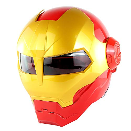 MTTKTTBD Iron Man Motorradhelm Integralhelm,Confortable Motocrosshelme Fullface Helm für Scooter Moped Cruiser Damen Herren,Personality Klapphelme mit Visier