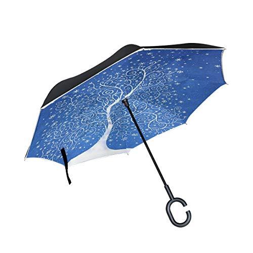 Isaoa Regenschirm, magisches Zelt, groß, winddicht, doppelschichtige Konstruktion, seitenverkehrt faltbarer Regenschirm, für den Außeneinsatz, C-förmigem Henkel, für Damen und Herren
