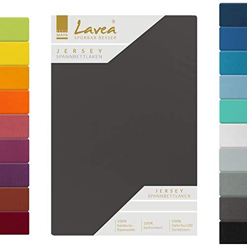 Lavea Jersey Spannbettlaken, Spannbetttuch, Serie Maya, 200x220cm für Boxspring- und Wasserbetten, Anthrazit, 100% Baumwolle, hochwertige Verarbeitung, mit Gummizug