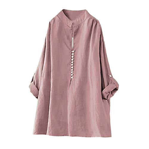 MERICAL Mujeres Primavera y Verano Casual Tallas Grandes de algodón Tops tee T Shirt Vintage Botón sólido Blusa Suelta Cómodo(Rosa,Small)