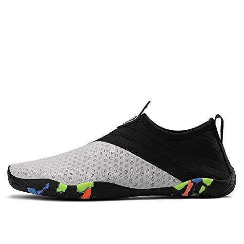 Parcclle Zapatillas de senderismo para hombre y mujer, zapatos de senderismo para caminar descalzo, zapatillas de correr, trail y fitness, en verano 5265, color Gris, talla 43 EU