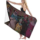 Killer Klowns from Outer Space Toalla de playa de fibra superfina toalla de viaje para adultos, anti arena, sostenible para viajes al aire libre, camping, senderismo, 81 x 127 cm
