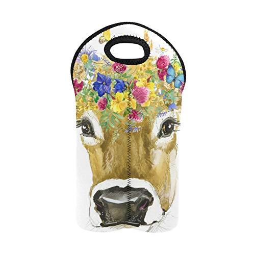 Wine Gift Bags for Wine Bottles Art Cute Colorful Animal Cow Flower Bottle Tote Double Bottle Carrier Wine Purse Thick Neoprene Wine Bottle Holder Keeps Bottles Protected