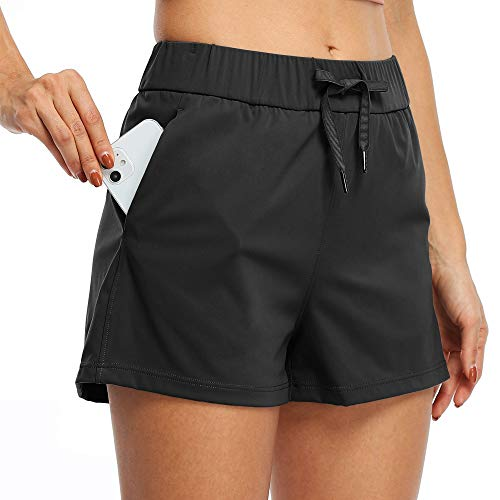"""Willit Women's Yoga Lounge Shorts Hiking Active Running Workout Shorts Comfy Travel Casual Shorts with Pockets 2.5"""" Black XXL"""