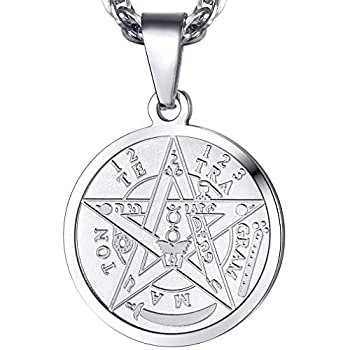 PROSTEEL Tetragrammaton Pentacle Necklace Eliphas Levi s Pentagram Protection Charm Amulet Wiccan Magical,Stainless Steel Star The Ancient Power Name of God