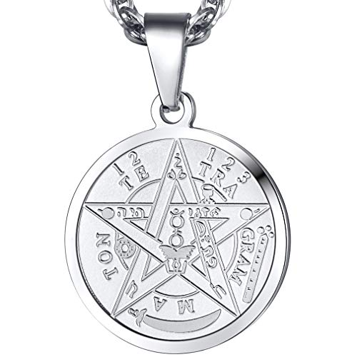 PROSTEEL Tetragrammaton Pentacle Necklace Eliphas Levi's Pentagram Protection Charm Amulet Wiccan Magical,Stainless Steel Star, The Ancient Power Name of God