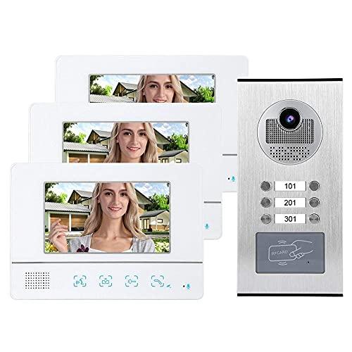 BJH Sistema de intercomunicación por Video de 7 Pulgadas con 3 cámaras de visión Nocturna HD IR de línea de TV s 1000 para Interiores, Compatible con conexión de Bloqueo Electrioni