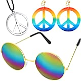 meekoo Set di Accessori per La Fascia Hippie degli Anni '60 e '70, Includere Orecchini con Segno di Pace e Collane, Occhiali Stile Hippie per Festa a Tema o Halloween (Colore 1)