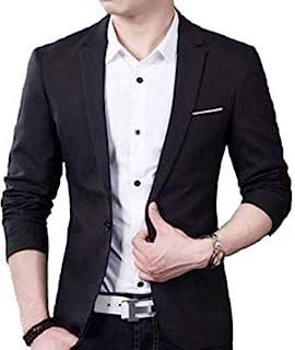 Trulyfeb Solid Single Breasted Casual, Wedding Men Full Sleeve Blazer (Black)