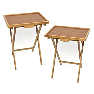 Lipper International Bamboo Lipped Snack Table, Set of Two, Bamboo