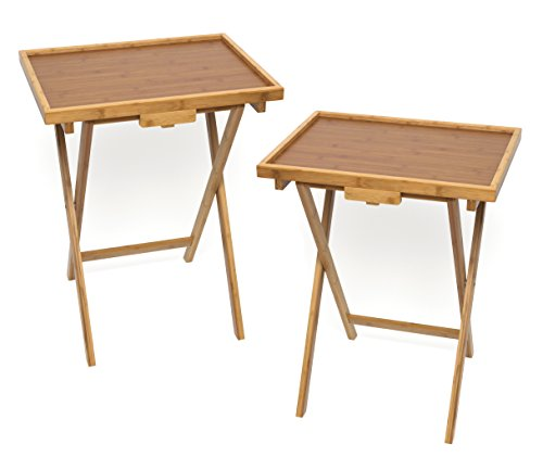 Lipper International Bamboo Lipped Snack Table, Set of Two,...