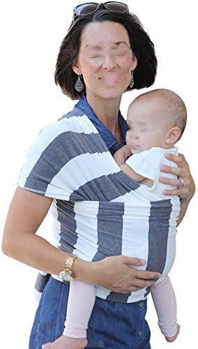 NMDD Baby Wrap Newborn Slings Carriers - Cotton Baby Slings, Multiple Positions Soft and Lightweight Sling for Infants from Birth,Grey Stripes 724