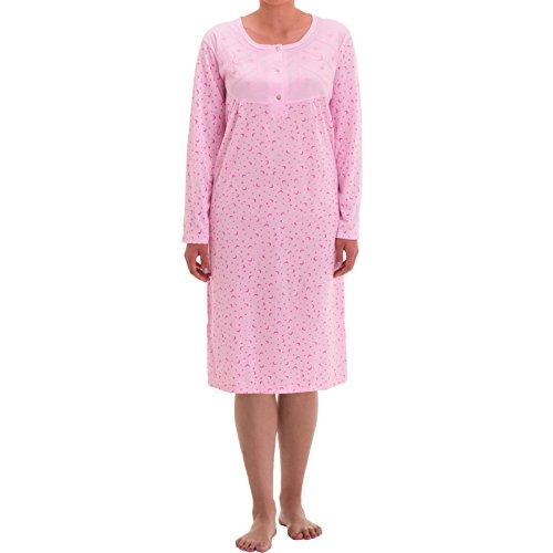 Zeitlos Nachthemd Damen Spitze Borte Blumen Langarm Schlafshirt, Farbe:rosa, Größe:M