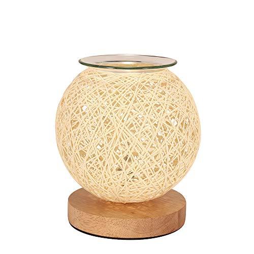 Electric Oil Burner Wax Melt Burner Warmer Aromatherapy Lamp Bedroom Aroma Lamp, Bedside Lamp LED Table Light Rattan Ball for Home, Office, Hotel, Birthday Wedding Gift