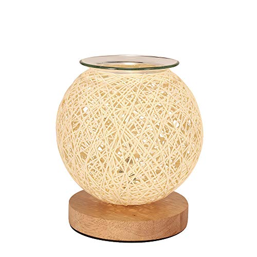 TIEMORE Rattan Electric Oil Burner Scentsy Wax Melt Burner with Light Candle Warmer Night Light for Home Office Bedroom Living Room Gifts & Decoration