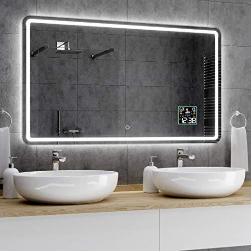 Alasta® LED Badkamerspiegel - 80x120 cm - Model Madrid - Spiegel met Aanraaklichtschakelaar en Weerstation P2