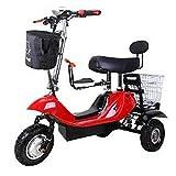 LUO Elektroroller , Mini-Klapp-Elektro-Dreirad, Tragbares Elektroauto Für Erwachsene, 48-V-Lithiumbatterie-Steuerfahrrad (Hält 200 Kg Stand),Rot