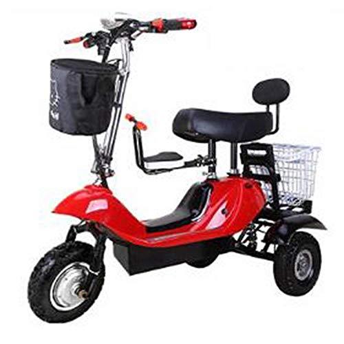 LUO Scooter Eléctrico, Mini Triciclo Eléctrico Plegable, Coche Eléctrico Portátil Plegable para...