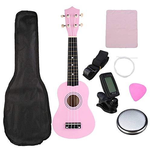 QLJ08 Ukulele Combo 21 Ukulele Soprano 4 Stgs Set di strumenti musicali Uke Hawaii con impunture basse + Tuner + Stg + Tracolla + Borsa