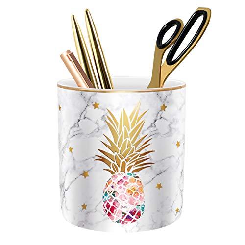 WAVEYU Pen Holder, Pencil Holder for Desk, Cute Makeup Brush Holder Marble Pineapple Pattern Pencil Cup for Girls Kids Durable Ceramic Desk Organizer Pineapple Decor for Office, Classroom, Pineapple