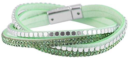 Mujer Piel Sintética metal pulsera enroscable pulsera verde claro plateado con cristales ribete verde Longitud 39cm y ancho 8mm 71500600006