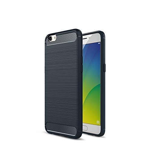 Kompatibel mit Oppo R9s R9s Plus/F3 Plus Hülle Carbon Fiber Textur Tasche Schutzhülle Ultra Dünn Slim Silikon Soft Flexibel TPU Cover Cases Stoßdämpfung Handyhülle (R9s, Marine)