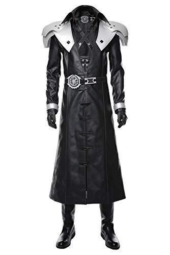 lancoszp Herren Sephiroth Cosplay Kostüm Halloween V Kragen lang Ledermantel Full Set Gr. Männlich S, Schwarz