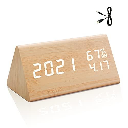 yumcute Sveglia Digitale Da Comodino,Sveglia Digitale Legno Ha Controllo Vocale, Temperatura e Umidità, 3 Gruppi Di Allarmi, Calendario, 4 Livelli Di Luminosità Regolabili(Giallo)
