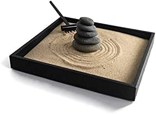 Stacking Stones Zen Garden Desktop Gift Ideas for Office Decor Relaxing Desk Accessories - Handmade Natural Mini Zen Garden Kit with Stackable Rocks Nature Decor for Relaxation and Stress Reduction