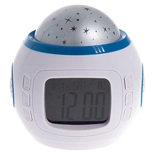 Smartfox LED Uhr Digital Musik Wecker für Kinder mit Sternenhimmel Projektion Nachtlicht und Farbwechsel Effekt Thermometer