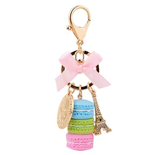 Fenical Schlüsselanhänger mit Macarons Eiffelturm Harz Tasche Anhänger