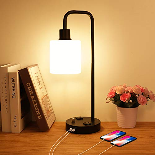 Industrial Table Lamp with 2 USB Charging Ports and AC Oulets, Dimmable Vintage Desk Lamp Opal Glass Shade Bedside Nightstand Lamp Modern USB Table Lamp for Bedroom Living Room Office, Bulb Included