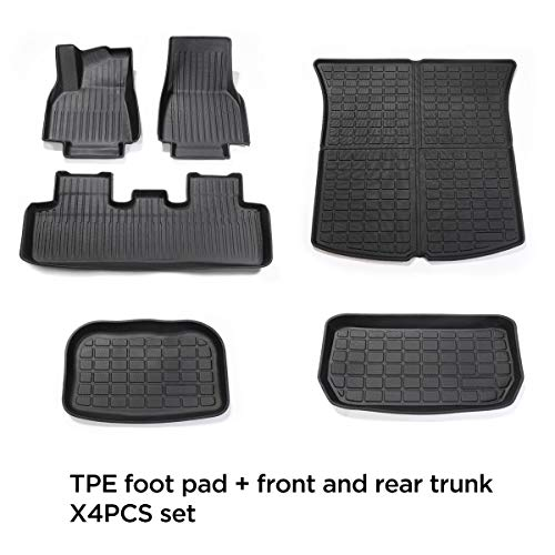 LUCKEASY Car Accessories Interior Modification for Tesla Model Y Waterproof Piano Style TPE Floor Mat Front Rear Trunk Mat (Full Set)