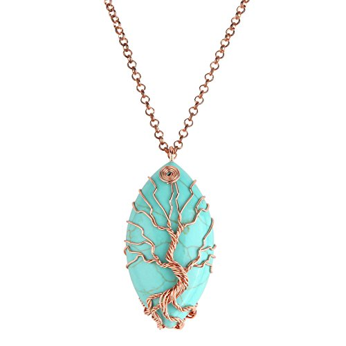 Jovivi Vintage Tree Of Life Wire Wrapped Copper Marquise Turquoise Gemstones Healing Crystal Chakra Pendant Necklace W/Box