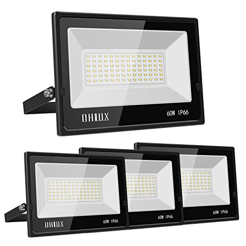 OHLUX 60W LED Flood Light, 6000lumen Superbright, 5000K Daylight, IP66 Waterproof for Outdoor Security Lights, Exterior Lights, Garden, Patio, Porch, Playground, Basketball Court 4 Pack Black