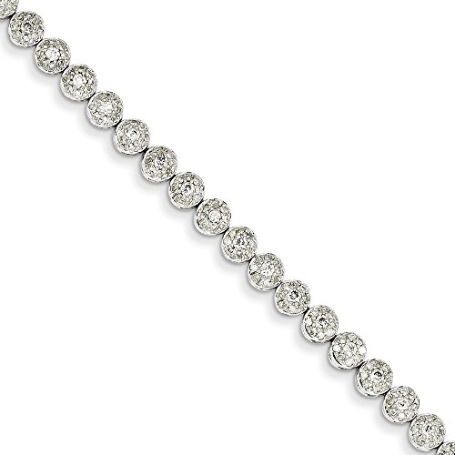 14k White Gold Diamond Circle Link Bracelet 7 Inch Fancy Fine Jewelry For Women Gifts For Her