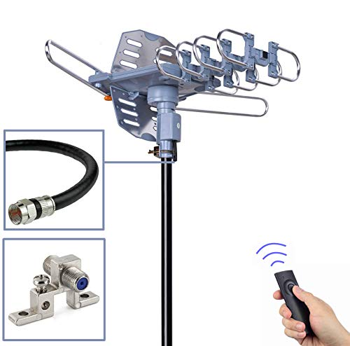 PBD Outdoor Digital Amplified HDTV Antenna, 150 Mile Motorized 360 Degree Rotation, Wireless Remote Control, 59FT RG6 Coax Cable, Coaxial Grounding Block, UHF VHF 1080P 4K, Support 2 TVs