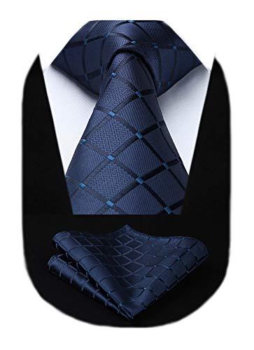 HISDERN Extra lange Check Krawatte Taschentuch Herren Krawatte & Einstecktuch Set Navy blau