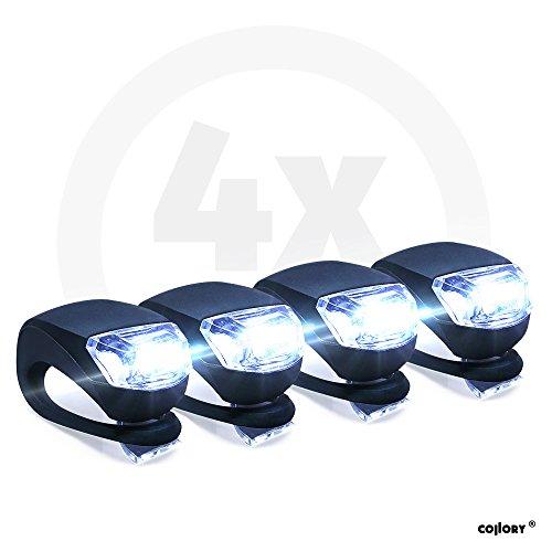 Collory 4x Mini LED de Silicona Leuchten Juego Incluye Pilas, iluminación de Cochecito, Agua Fija Seguridad Leuchten, luz de Patinete, niños Unidad de lámpara, Montaje fácil sin Herramientas, Negro