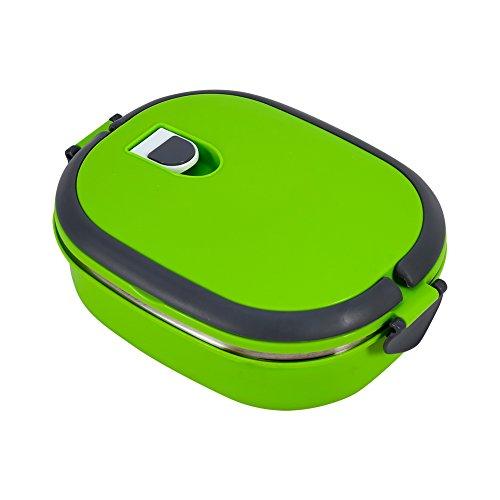 portapranzo termico caldo, Porta pranzo impilabile Portatile in acciaio inossidabile per Isolamento Contenitore termico di contenitori alimentari strati ermetici termico con manico (Verde 1capas)