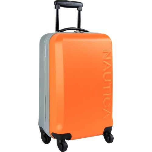 Nautica Ahoy Hardside Expandable 4-Wheeled Luggage-2 Piece Bundle, Orange/Silver, 28 & 21 inch Set