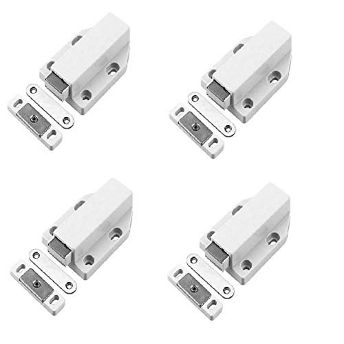 libelyef Magnetic Push Latch With Screws, Heavy Duty 4 Pack Magnetic Door Catch Touch Pressure Release Door Push For Large Door Push Release Latch Kitchen Drawer Push Catch Pop Out Latch