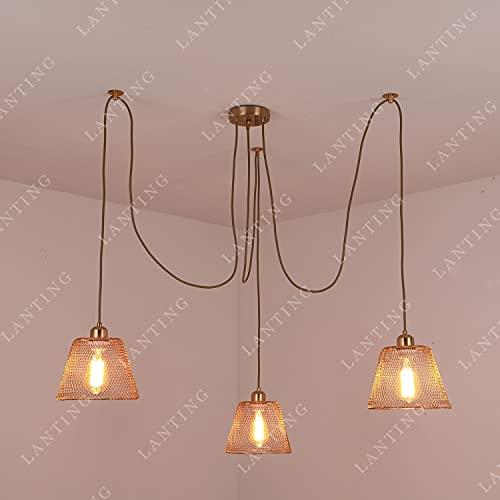LANTING lámpara colgante dormitorio salón araña mesa comedor lámpara comedor vintage, E27x3...
