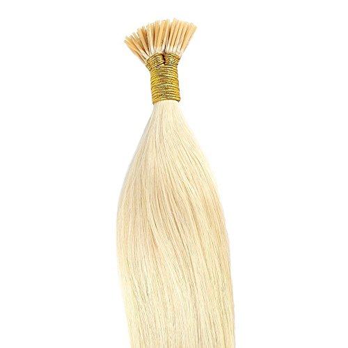 Extension Cheveux Naturel Pose a Froid I-Tip Fixé par Micro Anneaux Ring - 100% Vrai Cheveux Humain 100 Mèches - #613 Blond très clair - 22 Pouce(55CM)