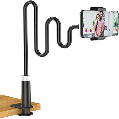 Lumanby Soporte flexible de cuello de cisne de 360° flexible ajustable para escritorio con base estable, clip universal flexible perezoso soporte para brazos largos, 1 unidad de color negro