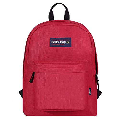 "FOCHIER F Fochier Unisex Classic Everyday School Laptop Daypack Backpack para Portátil DE 14""-15.6"",Vino Rojo"