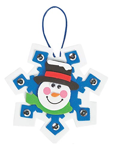 Snowman Snowflake Ornament Craft Kit - Makes 12 - Crafts for Kids and Fun Home Activities