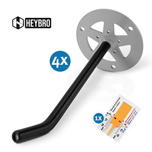 HEYBRO Universal Reifen Wandhalterung im 4 er Set - platzsparende Aufbewahrung Ihrer Autoreifen - inkl. Reifenprofilmesser - Optimaler Wandhalter auch für Leitern, Werkzeug, usw. - Premium Qualität
