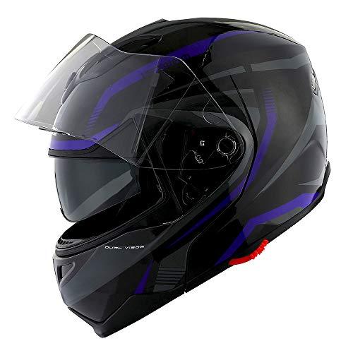 1Storm Motorcycle Street Bike Modular/Flip up Dual Visor/Sun Shield Full Face Helmet Storm Tron Purple