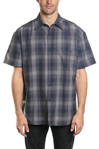 YAGO Men's Short Sleeve Plaid Woven Work Shirt
